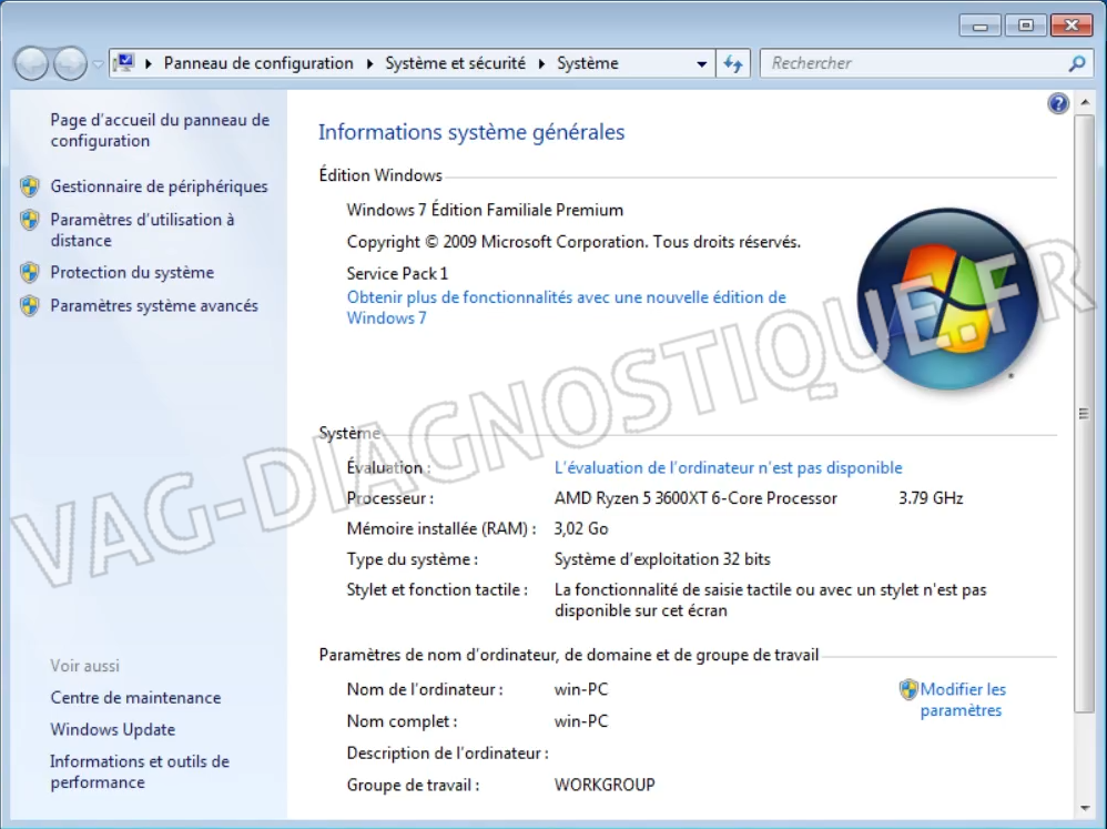 Windows 7 informations système